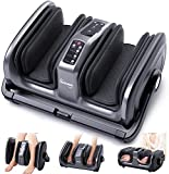 Tisscare Foot Massager Machine with Heat and Remote, Shiatsu Foot and Calf Leg Massager Deep Tissue Kneading Therapy Air Compression Stress Pain Relief for Plantar Fasciitis, Circulation (Black)