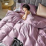QIANBAOBAO Winter Home Textiles - Juego de funda de edredón de 3 piezas de seda de hielo para cama individual, doble, color morado Taro, 1,5 camas (edredón de 200 x 230 cm)