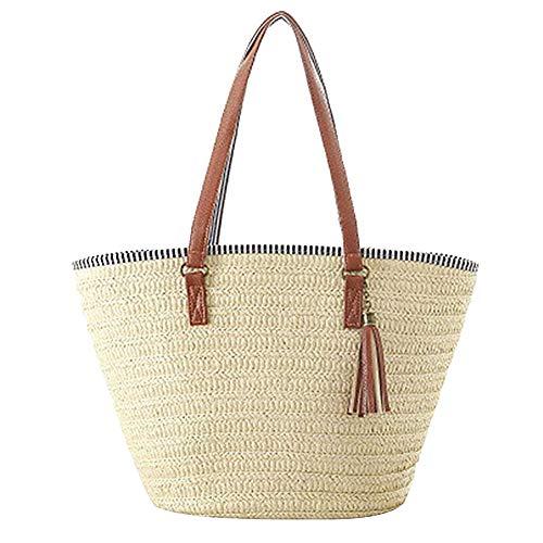 Demarkt Strohtaschen Damen Handtaschen Sommer Strohsack Crossbody Tasche Schulterbeutel Freizeit Geflochten Strandtasche
