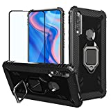 Strug for Huawei Honor 9X / Y9 Prim 2019 /P Smart Z Case,Soft TPU Armor Heavy Duty Shockproof Protection Built-in 360 Rotatable Ring Magnetic Car Mount Case with Tempered Glass Screen Protector(Black)