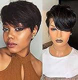 BLISSHAIR Peluca rizada corta de cabello brasileñas virgen remy de cabello humano para mujer Peluca rizada corta de cabello virgen 100% sin procesar Color negro natural