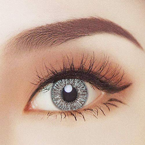 2x farbige Kontaktlinsen Grau - 2 Kontaktlinsen ohne Stärke'Grey Two' + gratis Kontaktlinsenbehälter