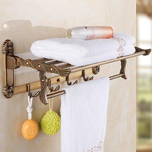 Ensemble de trois pièces en acier inoxydable rétro couleur cuivre (porte-serviettes pliant + porte-serviettes + barre de serviette unique) Rollsnownow (Couleur : B)