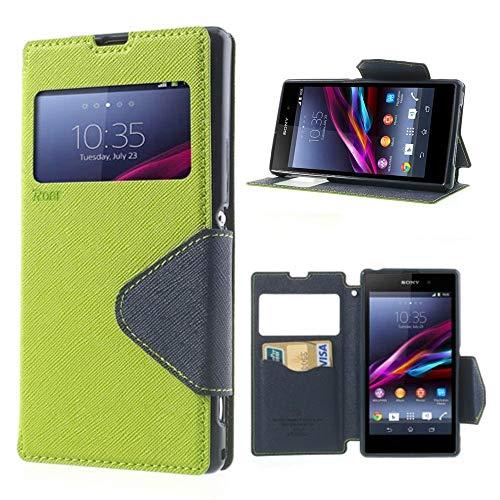 NessKa® Hülle Für Sony Xperia Z (L36h / C6603) | in Grün Handyhülle mit Kartenfach Fenster und Standfunktion Schutzhülle Flip Case Cover Etui Book Tasche aus hochwertigem Kunstleder