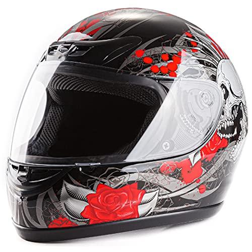 Cartman Motorcycle Modular Full Face Helmet, Flip up Visor Shield DOT Approved, Skull Design,...