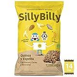 SillyBilly - Snack ecológico - Pack 14 bolsitas - Cuadraditos BIO horneados de Quinoa, Espelta, Plátano, Cacao y Almendras - Almuerzos y meriendas - Para picar entre horas