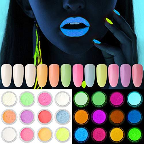 Kalolary 12 Dozen neon kleur nagel poeder pigment Lichtgevend nagel poeder, kleurrijke fluorescerende poeder acryl nail art gradiëntpoeders regenboog nagel glitter voor DIY nagel decoratie