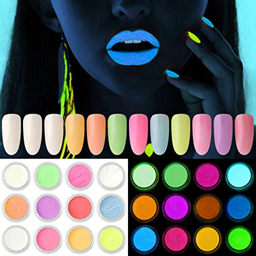 Kalolary 12 Cajas Neon Polvo de uñas, luminoso uñas purpurina polvo Polvo fluorescente de color brillo Pigmento Polvo de uñas brillan en la oscuridad para decoración de uñas DIY