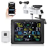 Famistar (14-in-1) WiFi Weather Station with Auto Alarm Function Internet Wireless Home Weather Station, Outdoor Wather Station Features 6.7'' x4.9'' Digital Color LCD Large Size Screen Display