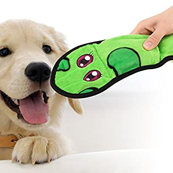 Pawaboo Jouet Serpent Couinement pour Chien, Jouets pour Animaux en Peluche Style de Serpent Boa et Son Couinement Long Corps Chiot Jeu, Vert & Jaune