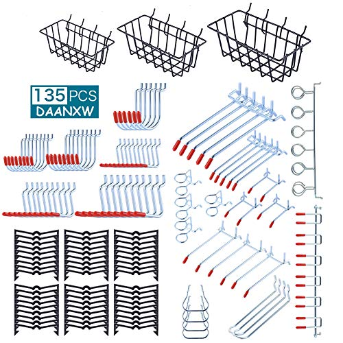 135PCS Pegboard Accessories Organizer Kit, Pegboard Attachment, Pegboard Basket Set for Tools, 1/8 and 1/4 inch Pegboard Hooks Assortment, Pegboard Bins, Metal Hooks for Hanging Storage (Red)