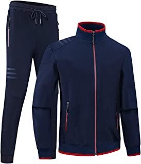 LeerKing Mens Casual 2 Pieces Athletic Full Zip Jogging Tracksuit Gym Sportswear Suit Fleece Jacket /& Pants Set