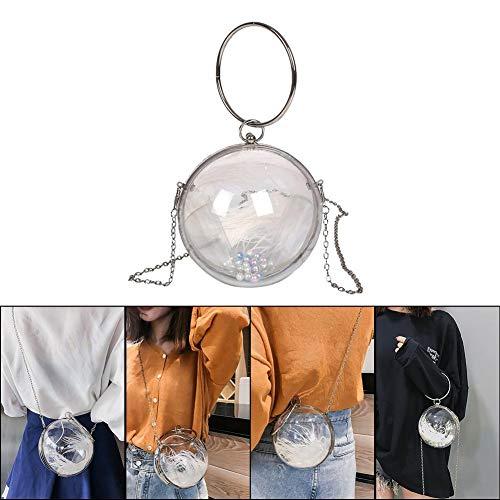 Kapokilly Mini Runde Kugelform Geldbörse, Modische Wildtasche Transparente Schultertasche Damen Kleine Handtasche Mit Abnehmbarem Kettenriemen Modische Umhängetasche