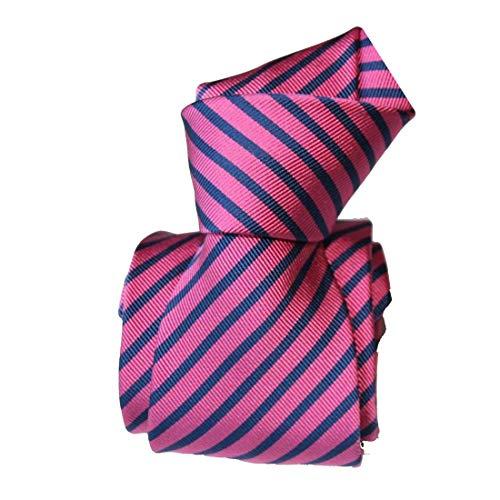 Segni et Disegni. Cravate mogador. Brescia, Mogador. Rose, Club/rayé. Fabriqué en Italie.