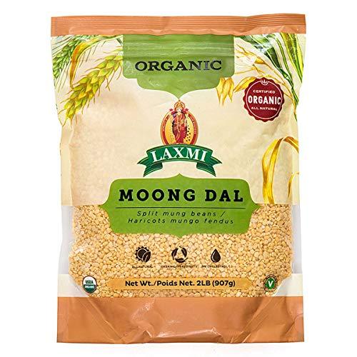 Laxmi Organic Moong Dal, Split Mung Beans, Haricots Mungo Fendus, All Natural (2lbs)