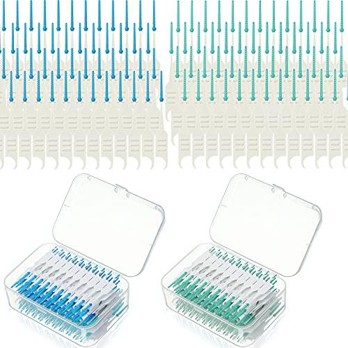 Cepillos Interdentales de Doble Uso Palillos Dentales de Silicona Suave Cepillo entre Dientes, Cepillo de Hilo Dental de Alambre de Ortodoncia Herramienta para Limpieza (400 Piezas)