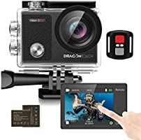Dragon Touch Vision3 Pro Action Camera 4K30fps Touch Screen 16MP WiFi Sports Camera 30M Waterproof Underwater Camera...