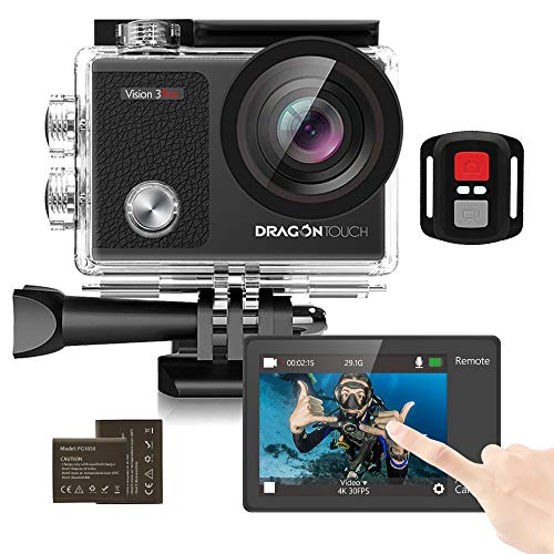 Dragon Touch Cámara Deportiva 4K 16MP WiFi Pantalla Táctil Cámara de Acción con Control Remoto 170°Gran Angular Cámara Sumergible Acuática 30m 2 Baterías y Kit de Accesorios(Vision 3 Pro)