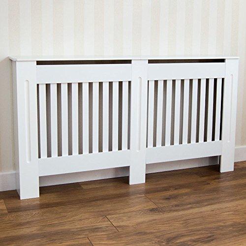 Vida Designs Chelsea Radiator Cover Modern Slatted Grill Slats White Painted MDF Cabinet, Large