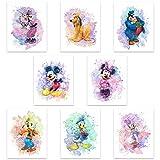 Mickey Mouse Aquarell-Drucke, ungerahmt, 8 Stück (20,3 x