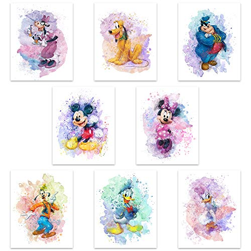 Mickey Mouse Watercolor Prints - Unframed Set Of 8 (8 Inches X 10 Inches) Mickey Mouse Wall Art Decor - Minnie Mouse Room Decor - Donald Ducks Daisy Duck Goofy Pluto Decor Poster