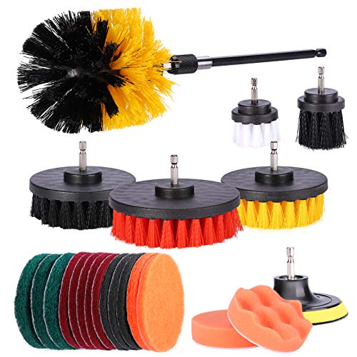 Drill Brush Attachment Set Power Scrubber Kit Scrub Pads & Sponge Cleaning Brush with Extend Long Attachment, All Purpose Clean for Wheels,Tile Sealants, Bathtub, Sinks, Floor, Carpet,Corners