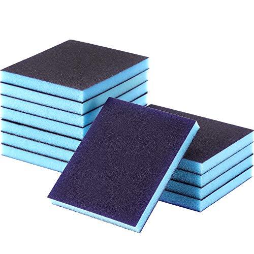 Washable and Reusable Sand Sponge for for Brush Pots SACKORANGE 12 Pack 100 Grit Medium Grade Sanding Blocks Polishing Wood and Metal