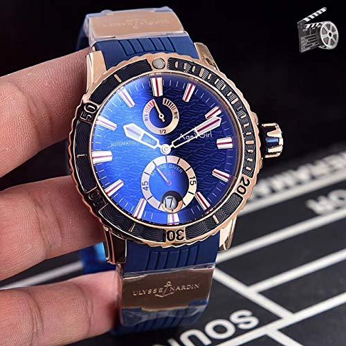 DMZZYGJR Luxusmarke Neue Männer Rose Gold Blau Automatische Mechanische Edelstahl Saphir Schwarzmeer Taucher Chronometer Uhr Blau