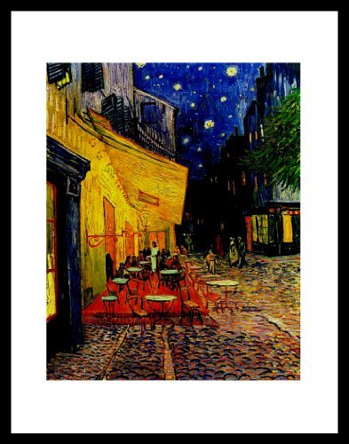 Buyartforless Wenn VG P Cafe 11x 14Glas gerahmt Vincent Van Gogh Straßencafé Kunstdruck Poster–16x 12, die Solide Schwarz Holz Rahmen die Cafe Terrasse auf dem Place du Forum, Arles Galerie