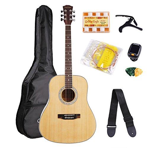 cooc Ejército abeto estándar de 41pulgadas Guitarra acústica Set con bolsa de guitarra, Capo, Pintar, plectren, silbato afinador, Guitarra Strap, abstimm Ranura para principiantes y profesionales