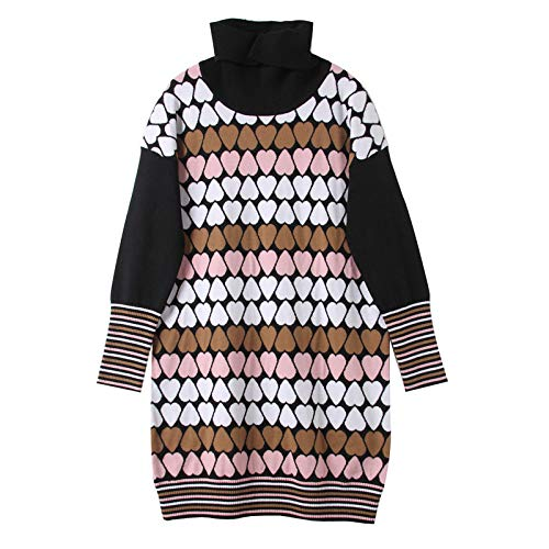 JIAKENVDE Winter High Collar Pink Love Heart Long Sweater Sweater Women's Slim Bottoming Dress