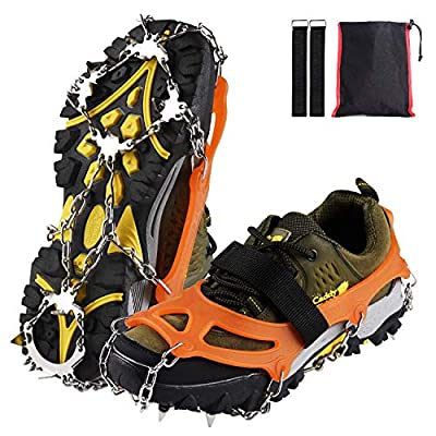 Xflyee Traction Cleats Ice Snow Grips with 19 Spikes for Walking, Jogging, Climbing and Hiking (Orange, L (Shoe Size: W 8.5-11.5/M7-9.5))