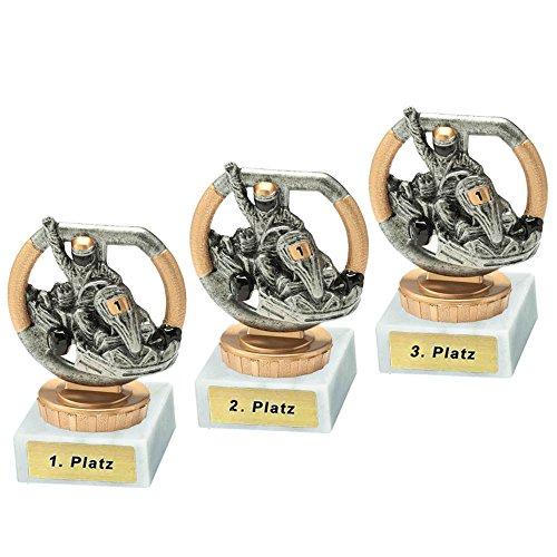 RaRu 3 GoKart-Pokale mit Wunschgravur und Resin-Klebefigur
