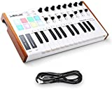 HX Worlde 25 Key USB Portable Tuna Mini MIDI Keyboard MIDI Controller with 8 Knobs, 8 Drum Pads, 8 Faders, Wood Imitation Rim, Pedal Interface, for Mac and PC
