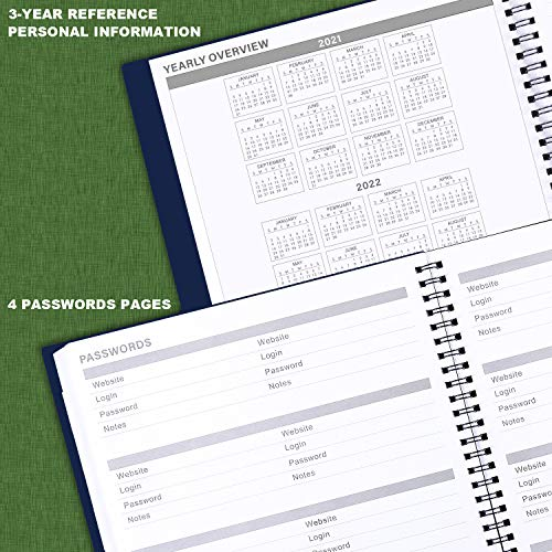 """Product Image 5: 2021-2022 Monthly Planner – 18-Month Planner with Tabs & Pocket & Label, Contacts and Passwords, 9"""" x 11″, Thick Paper, Jan. 2021 – Jun. 2022, Twin-Wire Binding – Navy Blue by Artfan"""