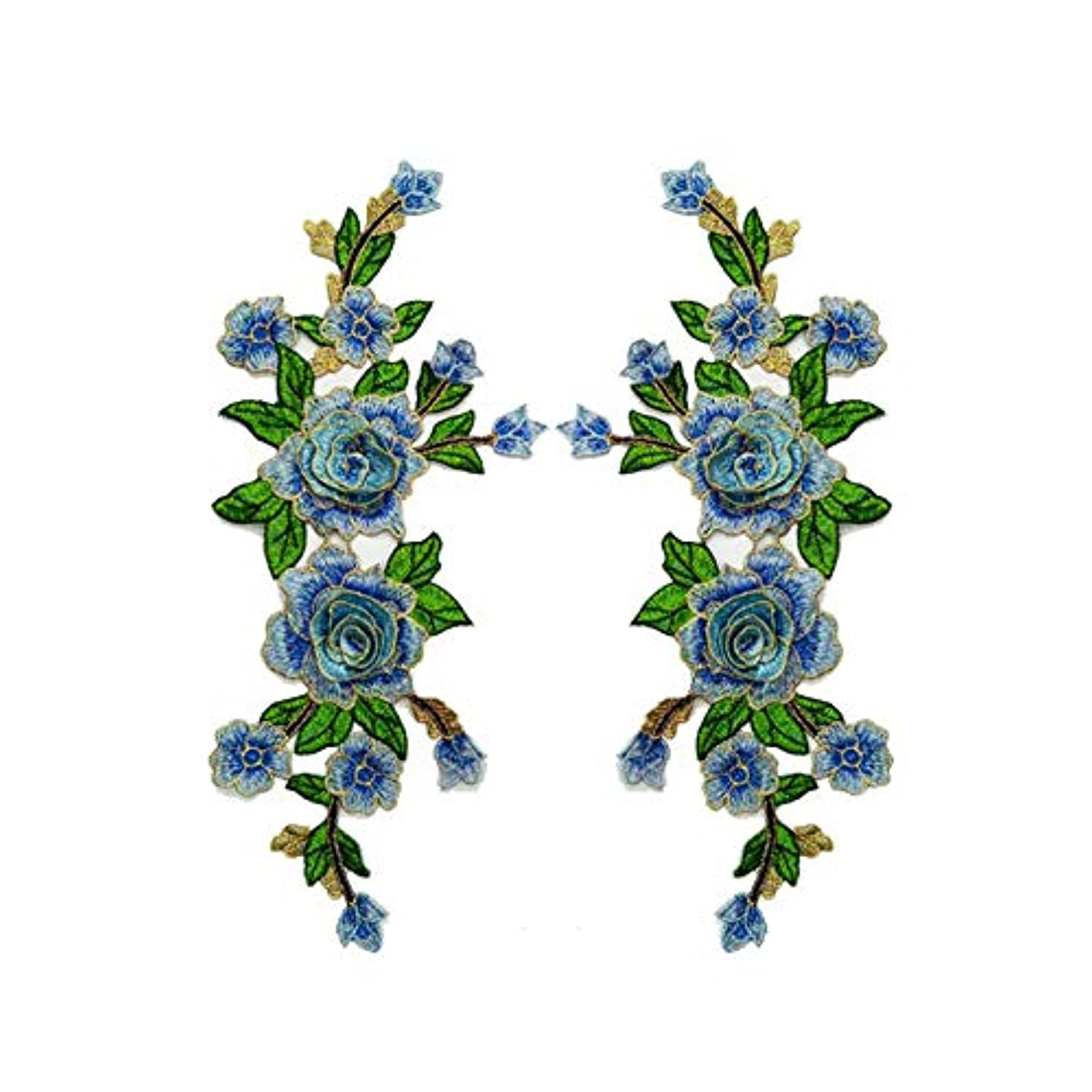 Fabric 3D Colorful Flower Lace Sewing Applique Patch Collar Applique DIY Craft Neckline Sewing Embroidery Patches Accessory for Cheongsam Clothes Dress 2 Pcs/lot (Blue)