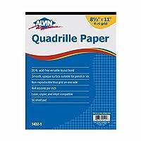 "Alvin Quadrille用紙50枚4x 4グリッドパッドトレイ、8.5"" X 11""(1432–1)"