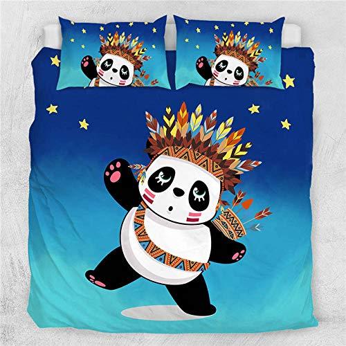GTBDWOSC® Juego De Funda Nórdica para Adultos De 3 Piezas Dibujos Animados Animal Panda Simple Azul - Funda De Edredón De Microfibra Suave Cepillada 1 con 2 Fundas De Almohada - Juego De Funda De EDR