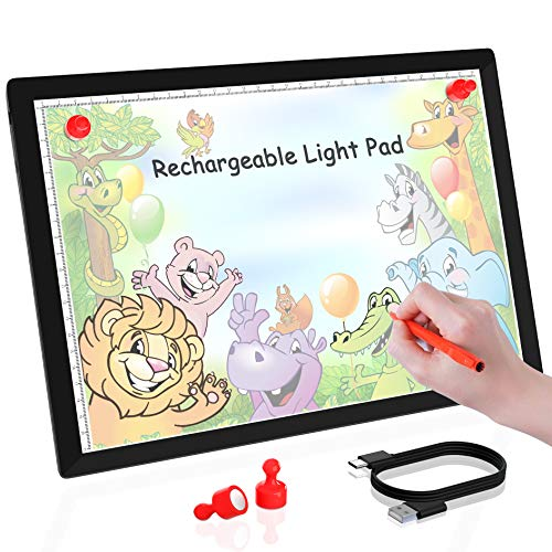 Rechargeable A4 Wireless LED Tracing Light Box-Winshine Dimmable Battery Powered Light Pad for Tracing Portable Light Weighted Light Board, for Aritist Drawing, Diamond Painting,Sketching, Animation