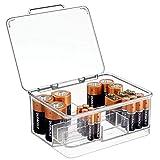 mDesign Box portabatterie per batterie di molteplici dimensioni – Contenitore batterie ricaricabili impilabile in plastica con coperchio – Cassetta portabatterie multiuso – trasparente