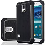 Galaxy S5 Case, Samsung S5 Cover, Jeylly Shock Absorbing Hard Plastic Outer + Rubber Silicone Inner Scratch Defender Bumper Rugged Hard Case Cover for Samsung Galaxy S5 S V G900 - Black