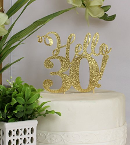All About Details Gold Hello 30 Cake Topper, 6 x 9