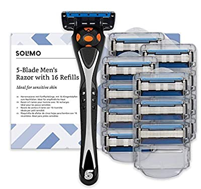 Amazon Brand - Solimo Male 5 blade men's razor with 16 cartridges from Amazon EU Sarl