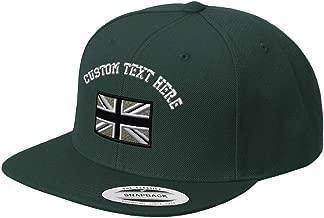 Custom Snapback Baseball Cap British Flag Black White Embroidery Design Acrylic