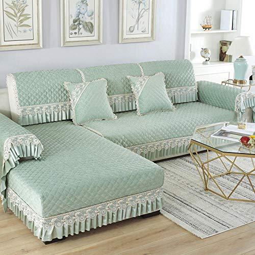 YUTJK Funda de sofá Personalizable, Toalla Antideslizante de Franela, Cojín de Sofá Universal de Cuatro Estaciones, Cojín de Protección de Sofá, para Dormitorio, Verde