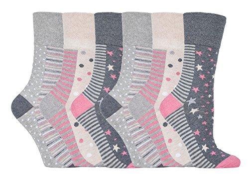 Gentle Grip - calcetines mujer sin goma colores fantasia estampados de algodon tamaño 37-42 eur (GG92 Muted Spot/Stripe)