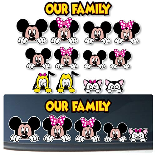 Customize-able Mickey and Minnie Inspired'PEEKING' Stick Figure Family FOR: Cars, Trucks, Vehicles [#PK2]