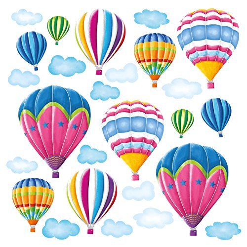 DECOWALL DW-1301AC-2 12 Globos Aerostáticos en el Cielo Vinilo Pegatinas Decorativas Adhesiva Pared Dormitorio Saln Guardera Habitaci Infantiles Nios Bebs