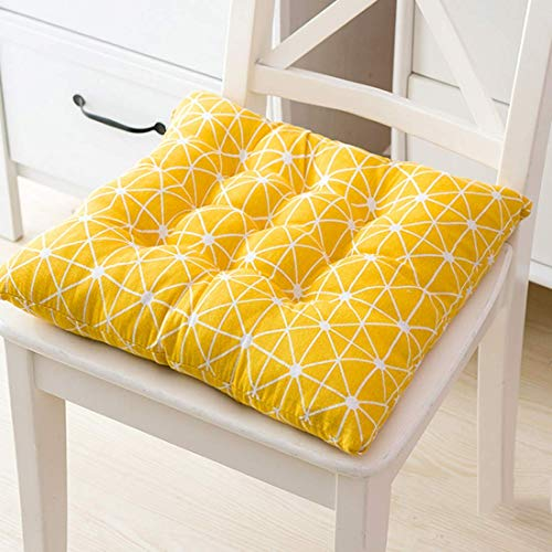 Square Chair Seats Pads With Anti-Slip Ties Decorative Cotton Linen Chair Back Cushions For living room, bedroom