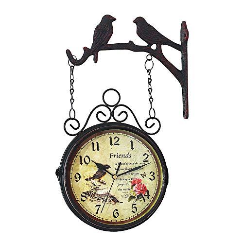 YYMM Outdoor Garden Wall Clock, Outdoor Mute Double Sided Bird Vintage Retro Clocks, Home Decor Coffee Bar Decoration Metal Hanging Clock